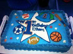 Sports Extravaganza! Ethan's 1st Birthday cake.