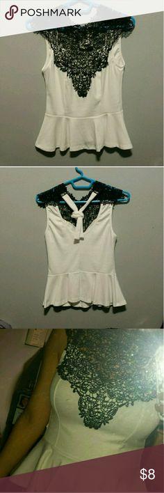 Spotted while shopping on Poshmark: White and black peplum shirt! #poshmark #fashion #shopping #style #Tops