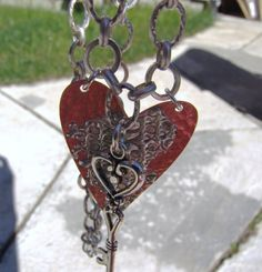 Hammered Copper Key to My Heart Necklace by BlingsByChristy