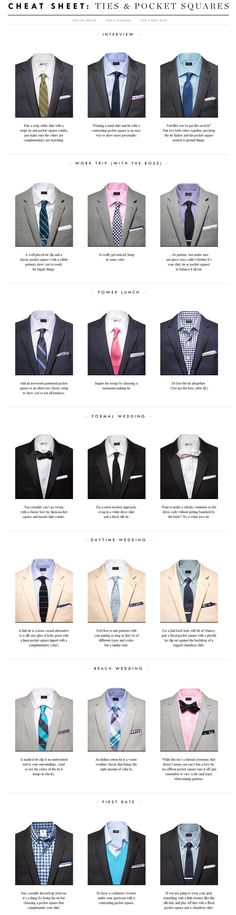 Cheat Sheet: Ties and Pocket Squares  Source: J. Crew  There's nothing worse than showing up to a night of extravagance and realizing you've made a wardrobe mistake. One of the most common mistakes is how a tie and pocket square combination work together. Check out this graphic from J. Crew to make sure you have the right style the next time you tie a pocket square into your attire.