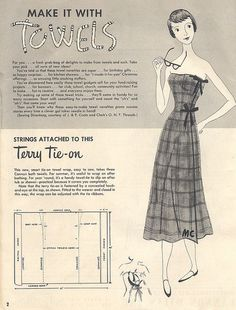 Free Vintage Sewing Patterns W/Instructions Using Towels or Terry Cloth - Includes this cute cover up, a shampoo cape, shower hood, baby bathrobe & more. Just scroll through the photo stream to see all pattern scans.
