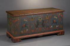 Berks County, Pennsylvania, Pine with original decorated blanket chest, circa 1788, 23.75 H. x 50 W. x 21.75D.