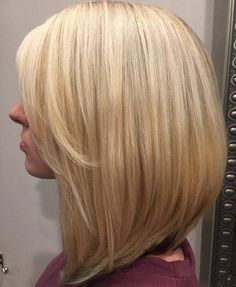 Long Blonde Bob With Side Bangs