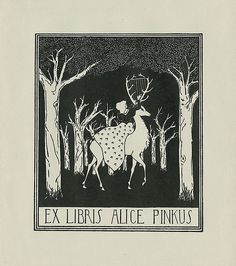 ≡ Bookplate Estate ≡ vintage ex libris labels︱artful book plates - stag whose horns are a harp