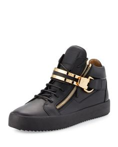 Men\'s+Leather+Mid-Top+Sneaker+w/Double-Bar+Strap,+Black+by+Giuseppe+Zanotti+at+Neiman+Marcus.