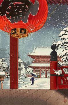 Tsuchiya Koitsu A Winter Day At The Temple Asakusa Vintage Japanese Woodblock Print Framed Art Print by Enshape - Vector Black - Japanese Art Prints, Japanese Drawings, Japanese Artwork, Japanese Painting, Chinese Painting, Japanese Woodcut, Art Chinois, Art Asiatique, Japanese Illustration