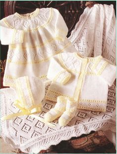 Vintage Knitting Pattern Layette Matinee Baby Set Cardigan Jacket Dress Bonnet, Booties Blanket or Shawl Christening PDF Baby Knitting Patterns, Knitting For Kids, Baby Patterns, Vintage Patterns, Dress Patterns, Pattern Dress, Dress With Cardigan, Baby Cardigan, Jacket Dress