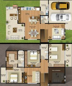 best house plans of 3 bedrooms two floors Dream House Plans, Modern House Plans, House Floor Plans, Plantas Duplex, House Map, House Blueprints, Prefab Homes, House Layouts, Architecture Plan