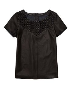 Short-Sleeved Leather Top With Special Quilting > Womens Clothing > Tops & T-shirts at Maison Scotch