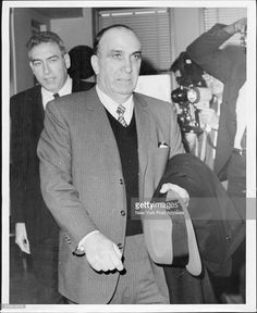Michael Genovese brother of Cosa Nostra wheel Vito Genovese leaves state commission of investigation hearing 270 B'way. Mafia Gangster, Al Capone, The Godfather, Rare Photos, Good Old, Dj, Boss, Mobsters, Gangsters