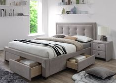 dimensions: cm material: cloth / solid wood color: cloth - beige, wood - walnut * bed without mattress optional mattress POLARIS Divan Beds, Bed Without Mattress, Pink Master Bedroom, Bedroom Furniture, Bedroom Decor, Bed With Drawers, Upholstered Beds, Trendy Bedroom, Yurts