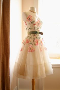 Like a breath of spring!  This vintage 50's party dress is perfect for Easter or an informal wedding.  I really love the sweet pastel colors in the flower detail ~ from Xtabay Vintage Clothing Boutique - Portland, Oregon