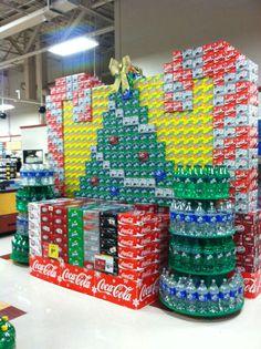 Coke candy cane display
