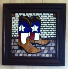 Stained glass mosaic Texas Boots, by Cathy Garner
