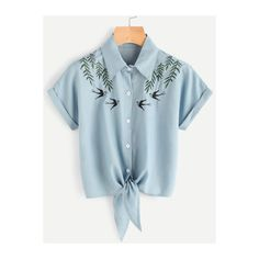 SheIn(sheinside) Tie Front Swallows Embroidered Denim Shirt ($12) ❤ liked on Polyvore featuring tops, blue, denim top, embroidered denim shirt, blue collar shirt, collared shirt and summer tops