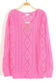 Pink Geometric Hollow-out Round Neck Cotton Sweater