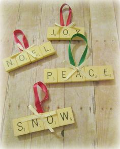 Scrabble Tile Ornaments by twobutterflies, via Flickr