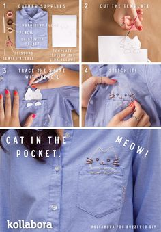 @KeLeigh Nichole Kitty Embroidery | 10 Crazy-Cute Embroidery Projects Too bad my boobs are wayyy too big to wear button down shirts