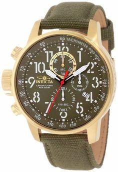 Invicta Men's 1876 I-Force Chronograph Green Dial Green Cloth Watch Invicta.
