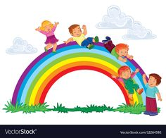 Buy Carefree Young Children Slide Down the Rainbow by vectorpocket on GraphicRiver. Vector illustration of a carefree young children slide down the rainbow