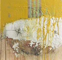 "Frank Shelton, Recollection with Yellow, 16"" x 16"", Mixed Media"