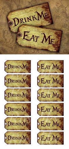 Dropping met drink me en eat me op elke bocht, zoet is recht, zout is links, water (met kleurstofjesss) is rechtdoor.