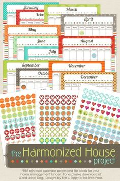 This really awesome organizing Family Calendar is designed by Erin Rippy of InkTreePress.com is FREE for download. This is part two of several collections to come to help you organize your home with the Harmonized House Project planner -:) Download at blog.worldlabel.com