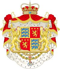 The coat of arms of Prince Henrik, the Prince Consort, the Royal arms of Denmark is quartered with his ancestral arms of the Counts of de Laborde de Monpezat. The shield is supported by two lions and surrounded by the chains of the Orders of the Elephant and the Dannebrog.