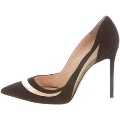 Pre-owned Gianvito Rossi Mesh-Trimmed Pumps ($425) ❤ liked on Polyvore featuring shoes, pumps, black, black pointy-toe pumps, black pumps, suede pointed toe pumps, black shoes and black suede shoes