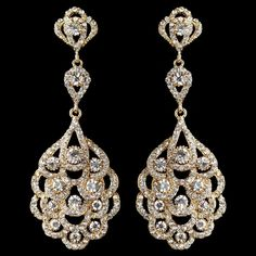 Light Gold Vintage 1920's Inspired Wedding Earrings, - Affordable Elegance Bridal -