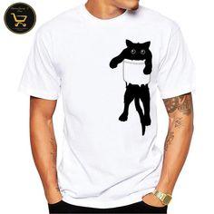2017 Summer Funny Cat in Pocket Design T Shirt Shirt Print Design, Shirt Designs, T Shirt Chat, T Shirt Humour, T Shirt Painting, Cat Shirts, Funny Tshirts, Printed Shirts, Harajuku
