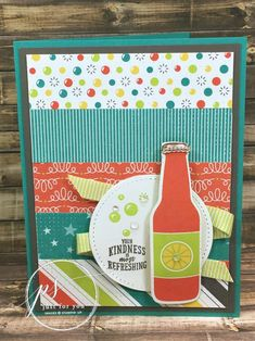 This soda bottle has a retro flair with bright colors and layers of designer papers as a background. Bubble Over from Stampin' Up!
