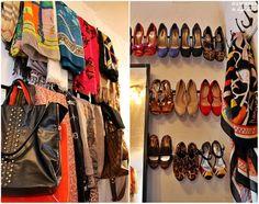 Curtain Rod Shoe & Scarf Storage