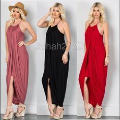 New hi low drape maxi gathered skirt sexy SOLD ❌only BLACK available  ❌  New retails. Hi low Drape ruched maxi  with layered shirt underneath. Racer back, spaghetti straps.ruched neckline and drape sides. Very comfy and super sexy. Fabric content 95% Rayon and 5% spandex ... Boutique Dresses High Low