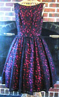 Vintage 1950s Black Chantilly Lace Over Fuchsia Red Taffeta Party Dress W 28