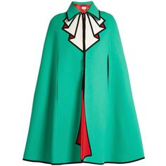 Gucci Trompe l'oeil wool cape (11.220 BRL) ❤ liked on Polyvore featuring outerwear, coats, jackets, gucci, cape, green, cape coat, woolen cape, green cape and wool cape coat