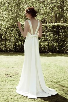johanna hehir Ella wedding dress. Bias cut dress in crepe with cowl neckline and low back bow detail Backless wedding gown low back bride bridal perfect open back statement sexy wedding dress