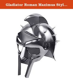 Gladiator Roman Maximus Style Helmet Armor with Spikes. This is the Gladiator Roman Maximus Style Helmet Armor with Spikes. The helmet has been constructed from 18 Gauge Polished Steel. The crest of the helmet has been welded to the top of the helm. The Spikes have all been secured with bolts and can removed. Product Dimensions: 14.4 x 12.3 x 11.4 inches.