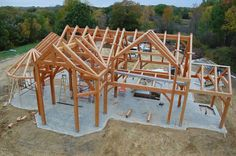 Timber frame - Timber Frames hold the structure of the building and the space between the timbers can be filled with straw bales & plastered.