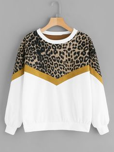 Women Leopard Sweatshirt Patchwork ONeck Shirt Women Pullovers Sweatshirts Loose Women Sweatshirt Tops Size S Color A Casual T Shirts, Casual Tops, White Casual, Hoodie Sweatshirts, Pulls, Stylish Outfits, Stylish Clothes, Long Sleeve Tops, Ideias Fashion