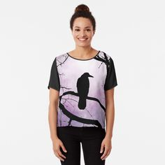 'Bird 78 Crow Raven' Chiffon Top by artbylucie Crows Ravens, Chiffon Tops, Classic T Shirts, My Arts, Bird, Printed, Awesome, Sleeves, Clothing