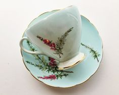 Vintage E.B. Foley Bone China Teacup and Saucer - Highland Heather Pattern - Footed Teacup in Robin's Egg Blue with Gold Trim by BagBagSydVintage on Etsy