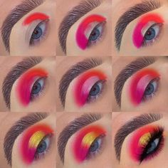 Huda Beauty Neon Orange look step by step, from – Make Up Time Makeup Eye Looks, Eye Makeup Steps, Crazy Makeup, Smokey Eye Makeup, Skin Makeup, Eyeshadow Makeup, Eyeshadows, Neon Eyeshadow, Make Up Designs