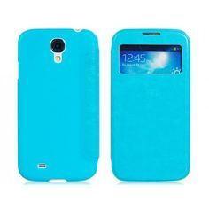 Corp Front View Blue Leather Samsung Galaxy S4 Case