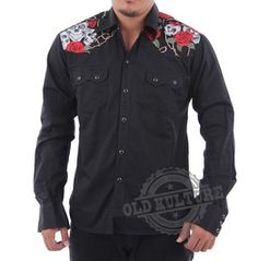Rockabilly Western Cowboy Snap Button Skull Roses Shirt Psychobilly Rock N