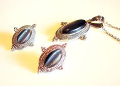 Your place to buy and sell all things handmade Grey Cats, Vintage Silver, Necklace Set, Dark Grey, Jewlery, Gemstone Rings, Buy And Sell, Eye, Chain