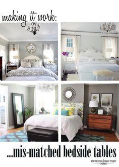 Making It Work: Mis-Matched Bedside Tables Bedroom Sets, Bedroom Decor, Bedrooms, Master Bedroom, Bedroom Retreat, Master Suite, Mismatched Furniture, Black Bedroom Furniture, Contemporary Bedroom