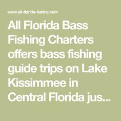 All Florida Bass Fishing Charters offers bass fishing guide trips on Lake Kissimmee in Central Florida just a few minutes from Orlando and Disney World. Melbourne Florida, Fishing Guide, Fishing Charters, Central Florida, Bass Fishing, Orlando, Trips, Disney, Viajes