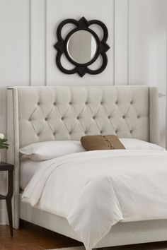 Nail Button Tufted Wingback Headboard with Brass Nail Buttons - Linen Talc by Gold Coast Furniture on @HauteLook