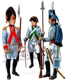 Saxony • Grenadier officer, Inf. Regt. 'Kurfürst', gala uniform, 1806 • Sergeant, Inf. Regt. 'Prinz Friedrich', 1806 • NCO, Saxon Hussards, 1806